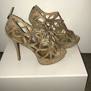 Tan sequin heels
